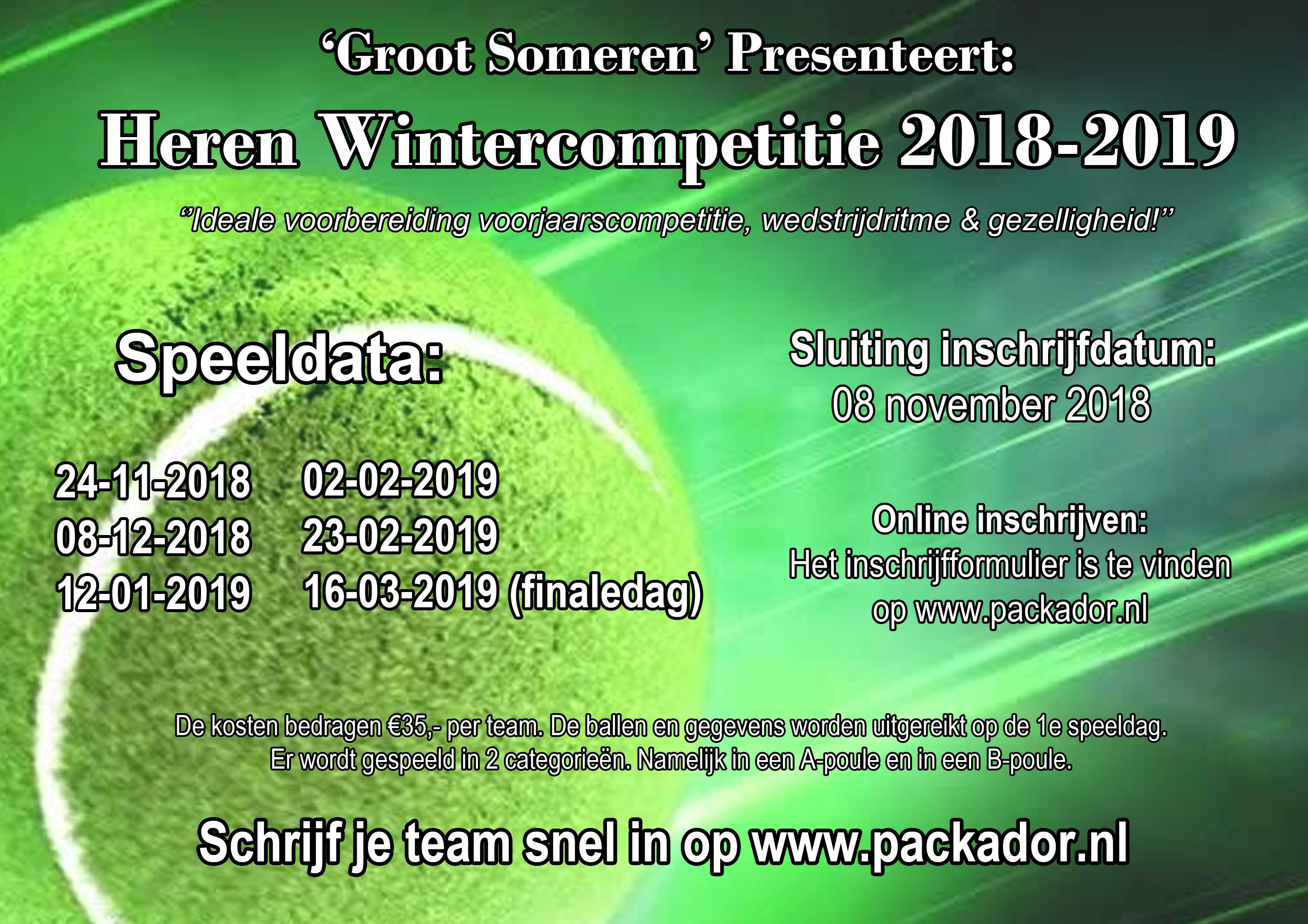 Herenwintercompetitie Groot Someren 2018 -2019