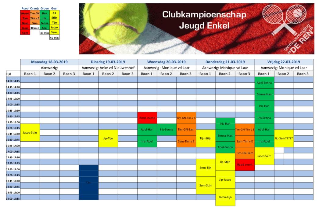 Schema Clubkampioenschap Enkel Jeugd 2019