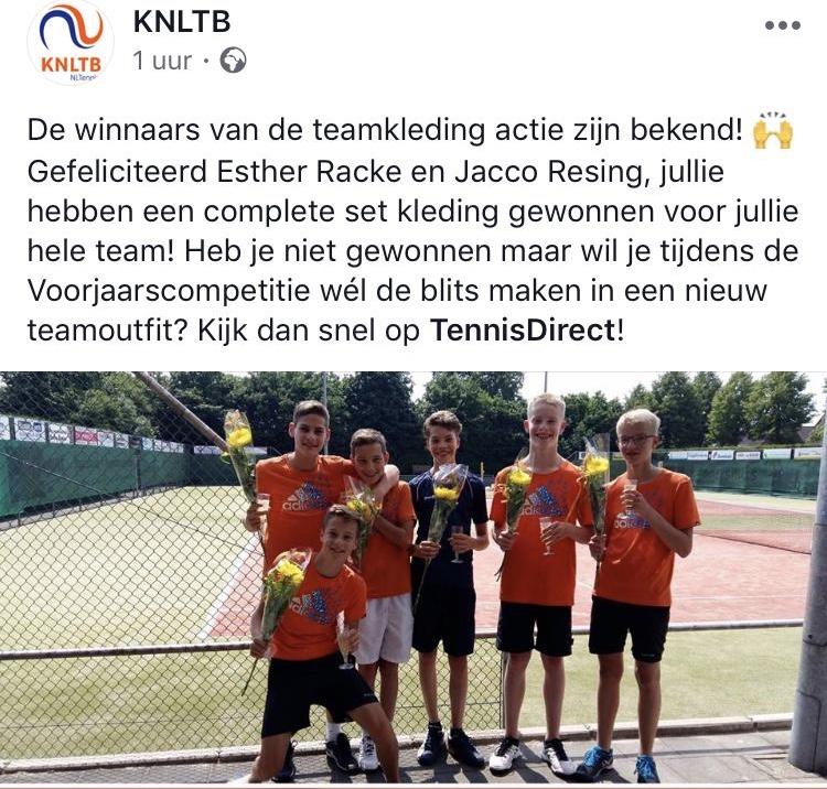 Winnaar KNLTB Teamkledingactie!
