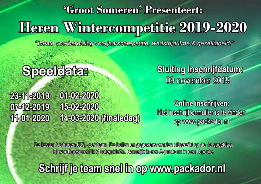 Herenwintercompetitie Groot Someren 2019-2020